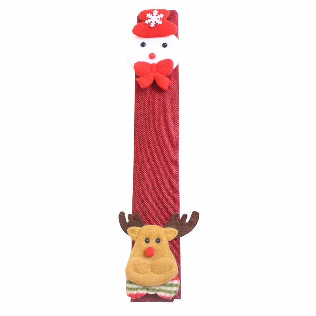 Navidad refrigerador manija cubre decoración Navidad paño Protector horno microondas de cocina lavavajillas guantes antiestáticos #15