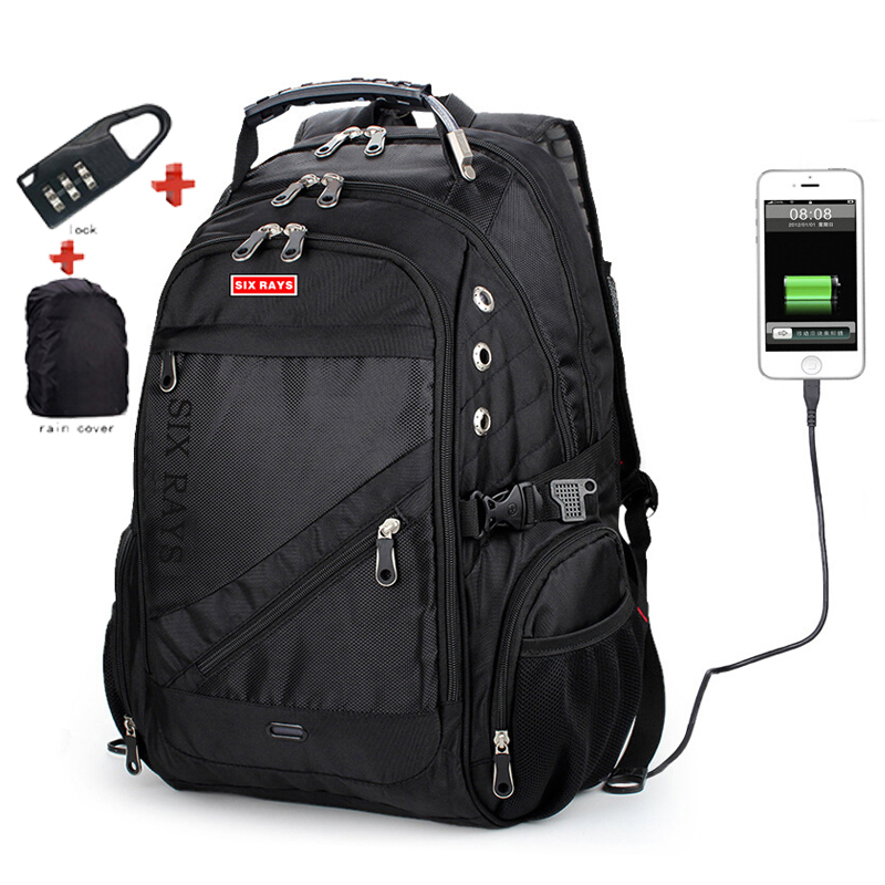 SIXRAYS Men Laptop Bag External USB Charge Computer Backpacks Anti-theft Men Waterproof Bags Women Backpack With Lock Raincover