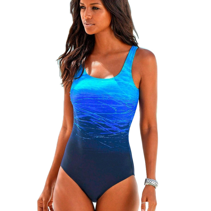 Large Size One Piece Swimsuit Female Women Vintage Swimwear High Neck Bandage Criss Cross Back Monokini Blue Xxl in Bikinis Set from Sports Entertainment