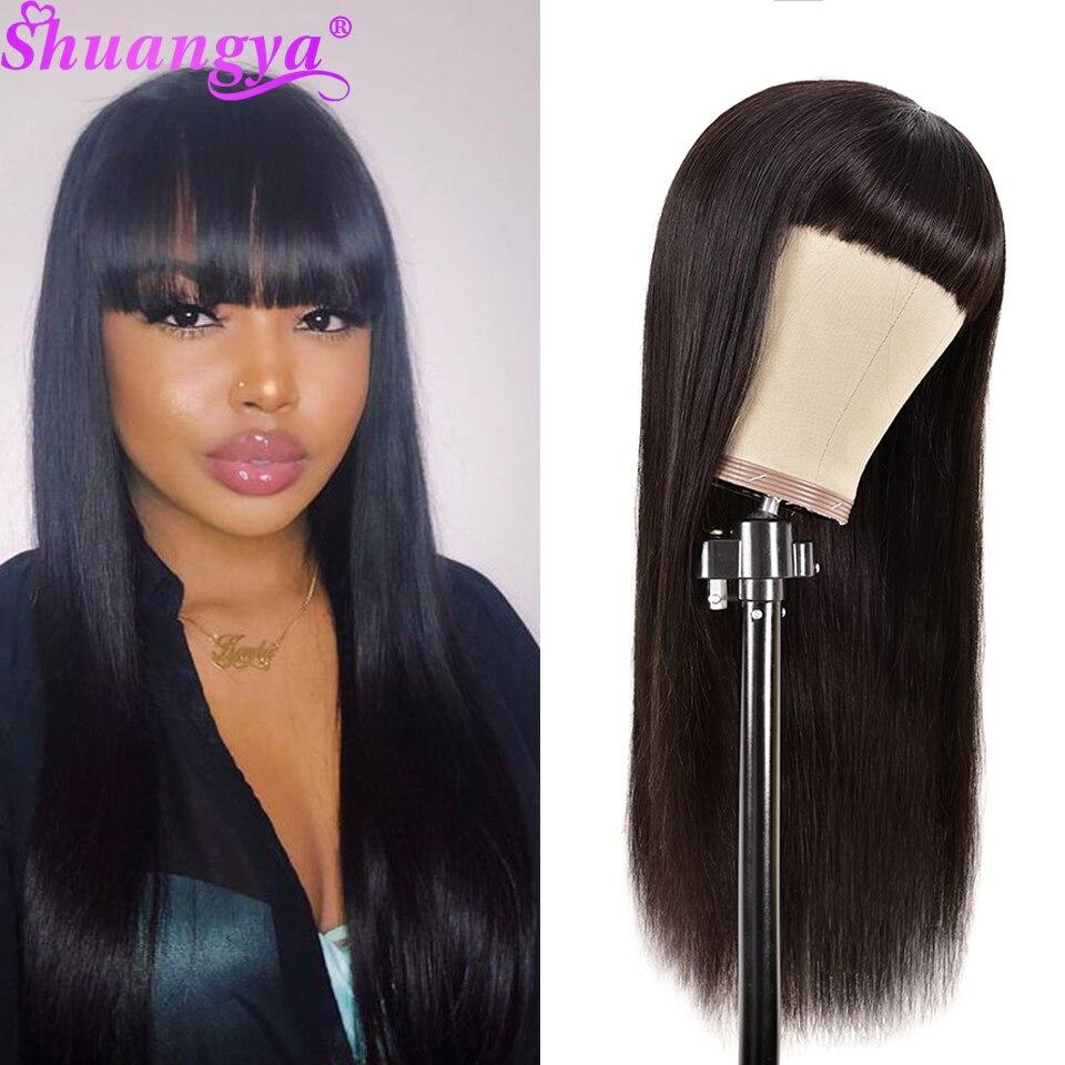 Peruwiański ludzki włos peruki z grzywką prosto elastyczna koronka pełna maszyna wykonana peruka 100% Remy ludzki włos peruki dla kobiet Shuangya