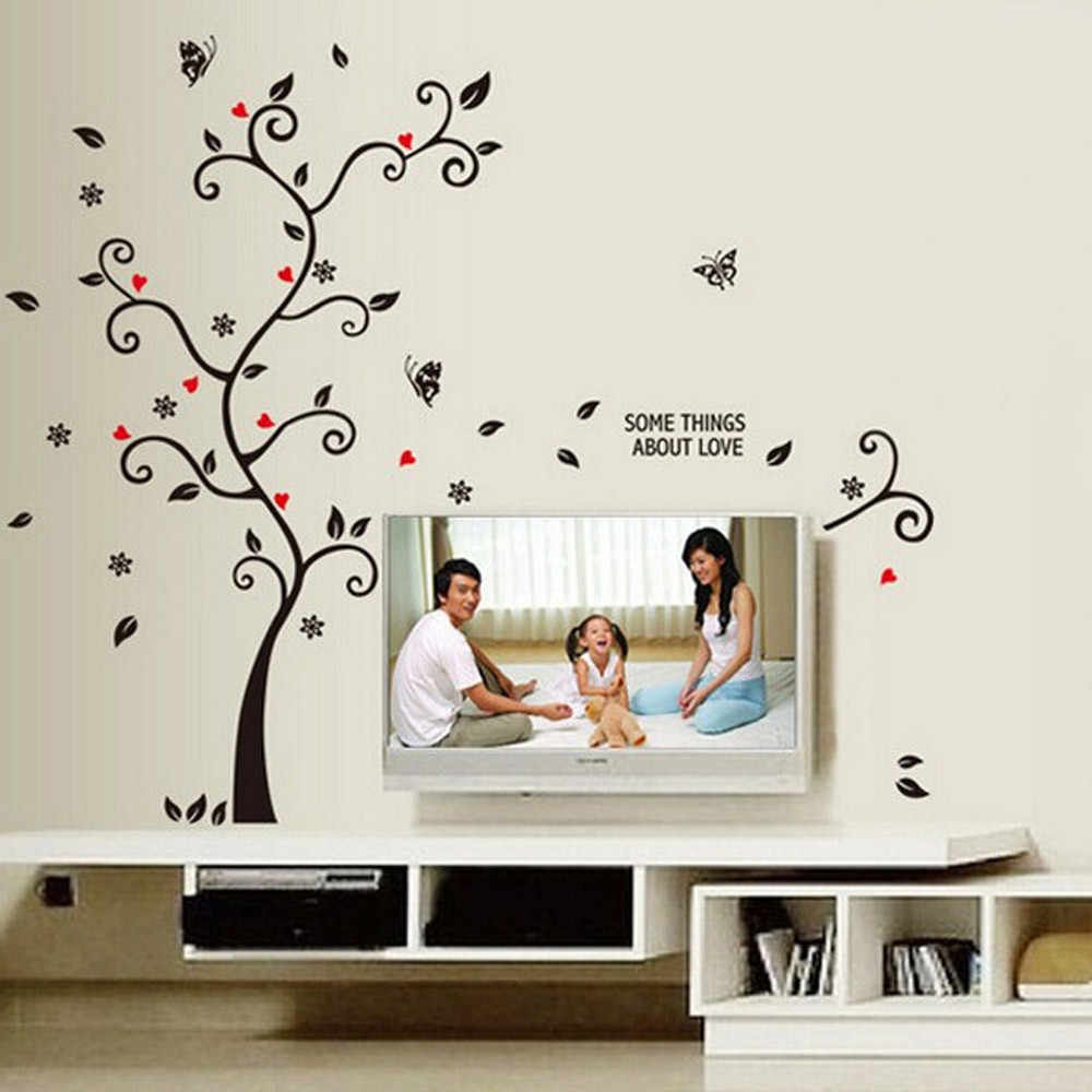 Peonía Rosa Flores 3D adhesivo de árbol para pared arte floral calcomanías infantiles decoración del hogar habitación mariposa pegatinas de pared decoración Mural