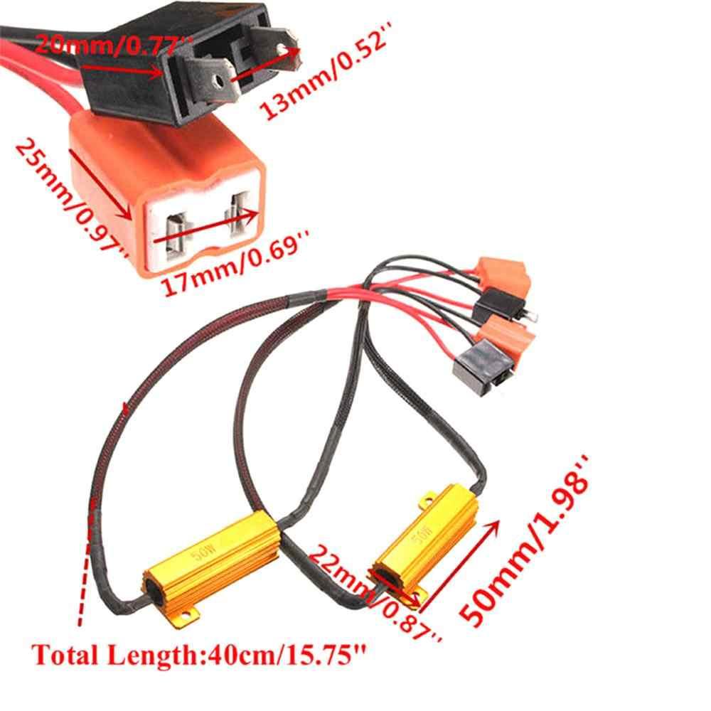 2pcs h7 50 w 6Ω carro led canbus carga resistor controlador de aviso cancelador led decodificador luz erro livre 12 v resistência