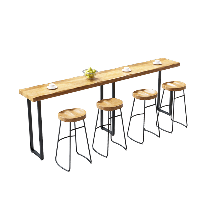Bar Table, Solid Wood Table And Chair Combination, Domestic Long Bar Against The Wall, Table And Chair Creative Coffee And Milk
