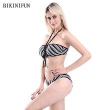 цена на New Sexy Backless Halter Bikini Women Swimsuit Striped Bathing Suit S-L Girl Low Waist Swimwear Strappy Bandage Micro Bikini Set