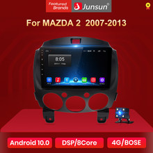 Rádio do carro de junsun v1 android 10 2g + 32g dsp 4g multimédios para mazda 2 mazda2 2007-2013 navegação gps 2din 2 din nenhum dvd autoradio