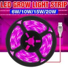 USB Full Spectrum Фитолампы LED Grow Light 5V Plant Grow Light 0.5 1 2 3M Flexible Grow Light Strip Водонепроницаемость Палатка семена лампа