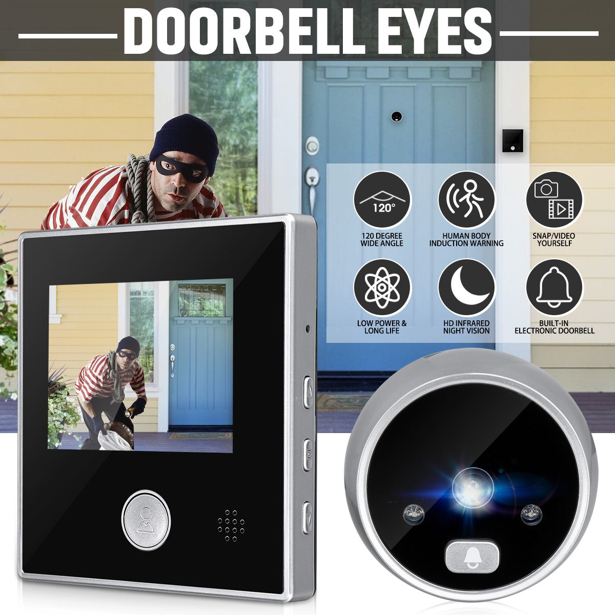 3 Inch  SY-2 LCD HD Digital Door Camera Eye Doorbell Outdoor Electric Door Eye Bell 120 Degree Li Battery Peephole Viewer Video