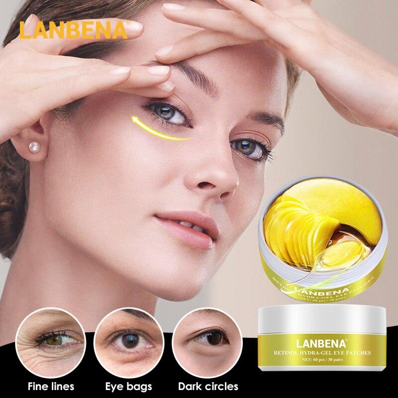LANBENA Eye Mask Pearl Hyaluronic Retinol Gold Collagen Eye Patch Reduce Dark Circles Wrinkle Puffy Eyes Moisturizing Eyes Care