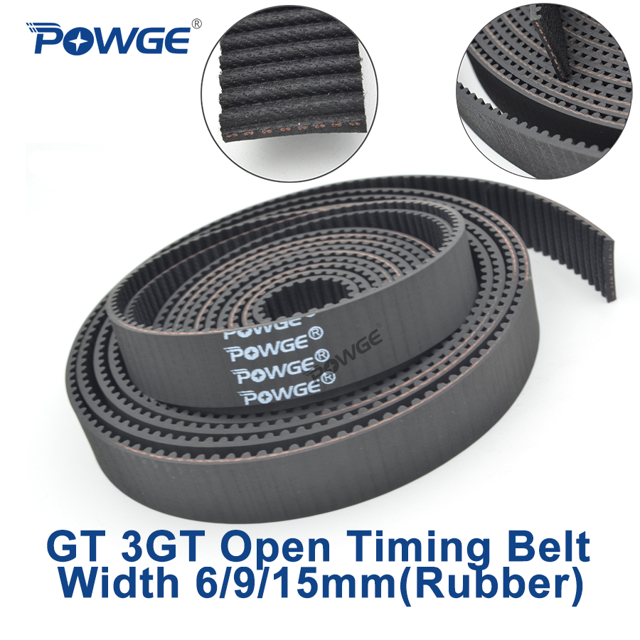 Powge gt 3gt abrir a largura síncrona da correia dentada 6/9/15mm 3gt-6/3gt-9/3gt-15 borracha pequena precisão da folga que posiciona a correia 3gt