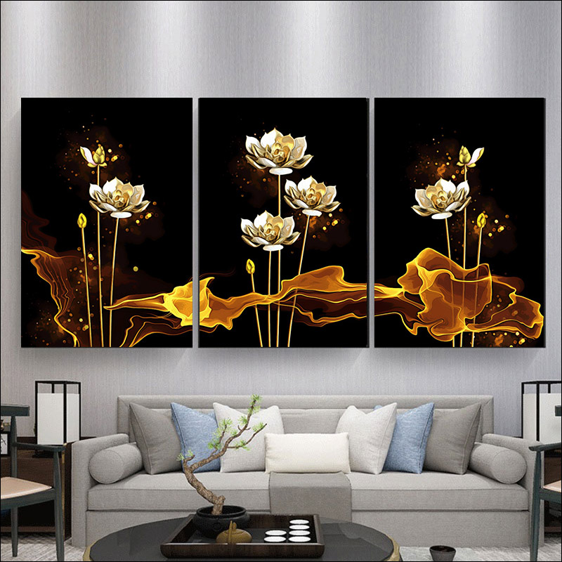 still life painting by numbers Hand painting Wall decoration paintin wall frame DIY frame  Light luxury golden flowers paintin-3