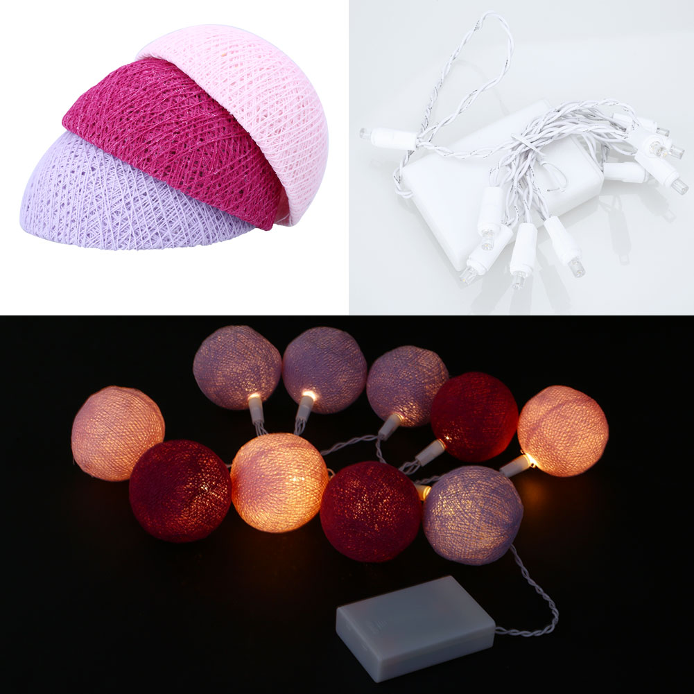 Xmas Cotton 10 Ball Fairy LED 1.8M String Light Decor Pink+Purple+Light Purple