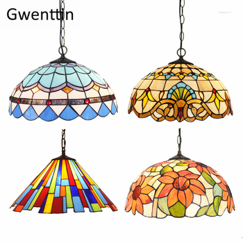 Vintage Tiffany Pendant Lights Mediterranean Baroque Stained Glass Hanging Lamp Led kitchen Lighting Fixtures Home Loft Decor fumat stained glass pendant lamp antique style baroque glass body flower shade restaurant suspension lampe hotel project lights