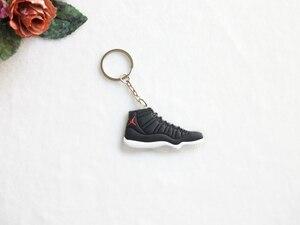 Image 5 - Voiture porte clés Mini Silicone Jordan 11 porte clés breloque pour sac femme hommes enfants porte clés cadeaux Sneaker clé accessoires chaussures