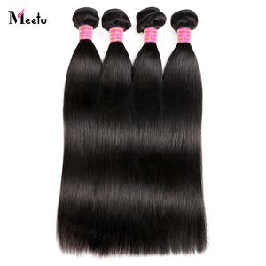 Meetu Peruvian Straight Hair Bundles 100% Real Human Hair Weave 4 Bundles Deal 8-28 inch Non Remy Natural Color Hair Extensions