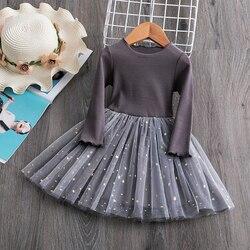 Платье для маленьких девочек, вязаные платья с длинными рукавами, повседневная детская одежда, одежда для маленьких девочек от 1 до 4 лет, веч...