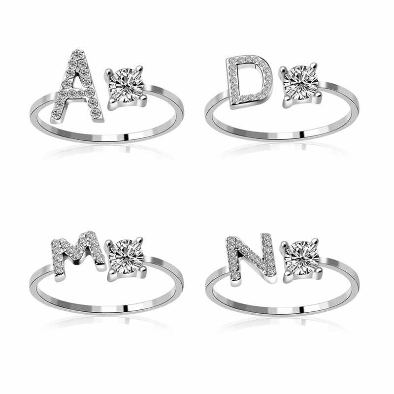 New 26 Letter Open Finger Rings For Women Jewelry Silver Ring Femaler Adjust Ring Men Golden Vintage BFF Ring Femme Wedding Ring