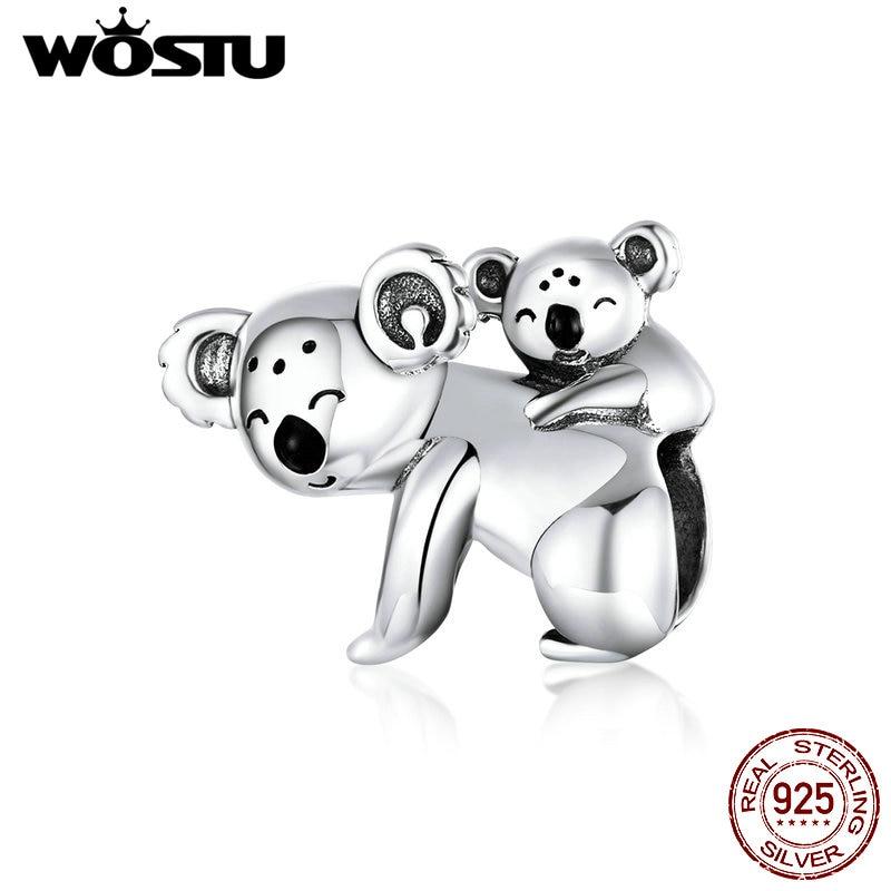WOSTU Koala Beads 925 Sterling Silver Lovely Koala Mom & Kids Charms Beads fit Girls Bracelets Bangles 925 Silver Jewelry CTC260