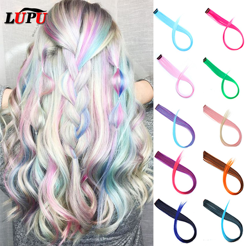 LUPU 55cm Singles Clip In One Piece Synthetic Hair Extensions Long Straight Hairpieces Rainbow Highlight Hair Stands For Girls