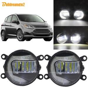 Buildreamen2 Car H11 Socket projektor LED światło przeciwmgielne + światło do jazdy dziennej biały 12V dla Ford c-max 2 MPV 2010-2015
