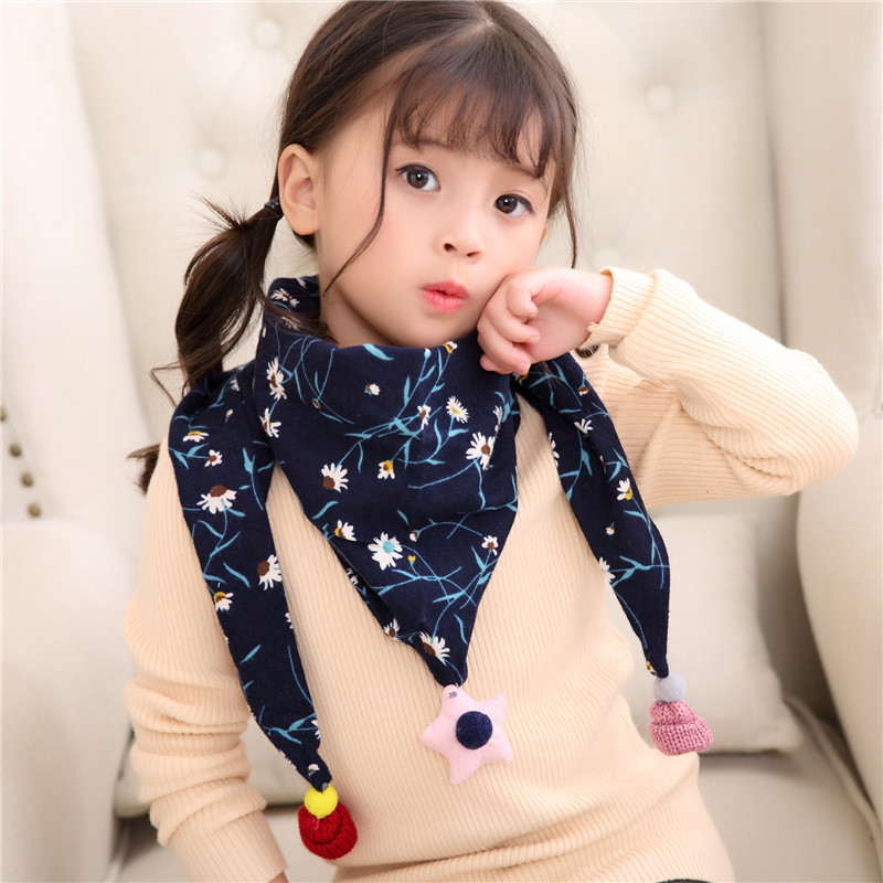 2019 New Autumn Winter Children's Scarf Girls Fringed Triangle Scarves Boys Kids Cotton Neckerchief Collar