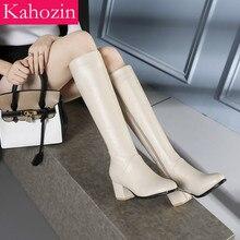 Kahozin buty zimowe damskie kolana wysokie futerkowe buty kwadratowe obcasy 5CM beżowy czarny boczny zamek błyskawiczny Fashion2019ComfortableShoesLarge Size45