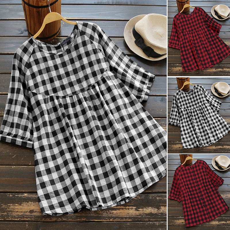 Women's Summer Check Blouse 2020 ZANZEA Fashion Casual Shirts Button Down Blusas Female Half Sleeve Tunic Plaid Tops Plus Size