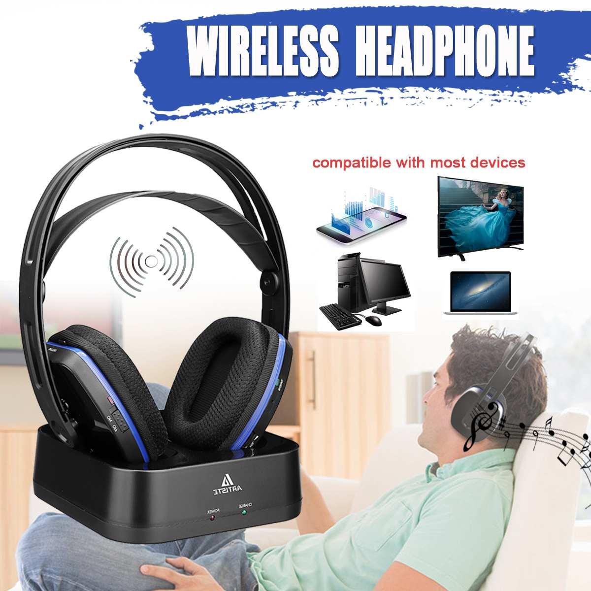 D2 2.4GHz sans fil HiFi bluetooth casque basse profonde sans fil TV casque avec émetteur Dock pour la musique de téléphone portable