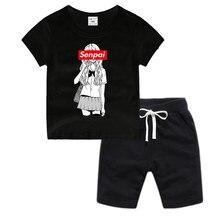 Little Boy Girl Anime Senpai Cotton T-Shirt Summer Kids Christmas Shirt Children Cartoon Toddler Tshirt  Luxury Top