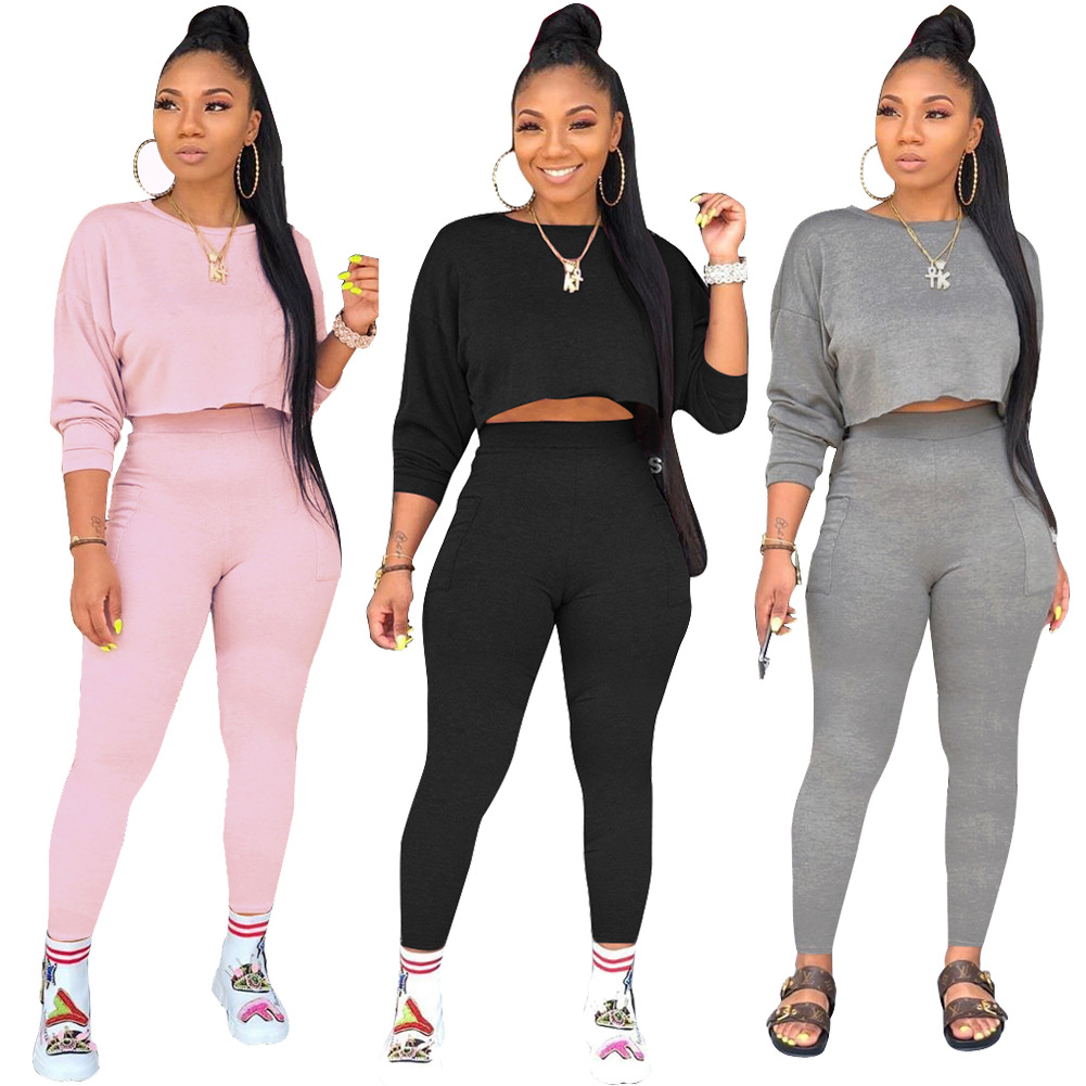 Round Neck Long Sleeve Thick Sweater Pocket Trousers Casual Two-piece Set Europe And The United States Autumn And Winter Hot