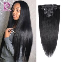 Racily прямые накладные человеческие волосы 8 шт./компл. бразильские волосы на заколке Remy Ins 120 г натуральный цвет 10-26 дюймов