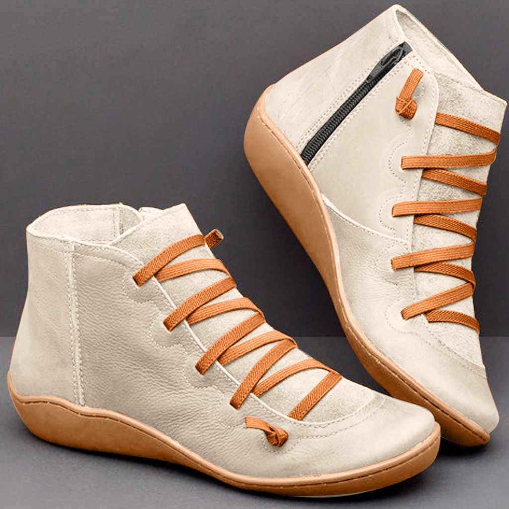 2020 bahar kış yeni kadın rahat düz deri Retro dantel-up çizmeler yan fermuar yuvarlak ayak ayakkabı botları yarım çizmeler kadınlar # O17