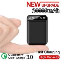 Mini portatile 30000mAh Power Bank 2USB Display digitale LCD ricarica rapida batteria esterna caricabatterie Powerbank per Xiaomi Mi iphone