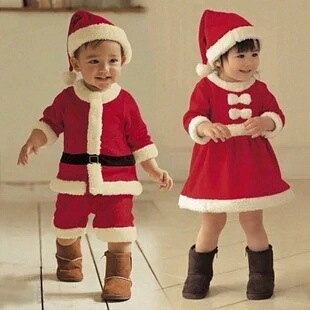Halloween New Year Kids Santa Claus Cosplay Costume Carnival Party Christmas Toddler Girls Red Dress Baby Boys Xmas Clothing Set