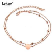 Lokaer新ファッション二重層ステンレス鋼のハートチャームアンクレット女性ローズゴールドカラー脚ブレスレットフットジュエリーA19026