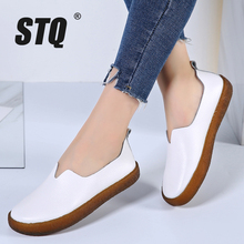 STQ 2020 Women Autumn Flats Sneakers Shoes Female Genuine Leather Casual Shoes Women Ladies Flat Slip On Sneakers Shoes 908