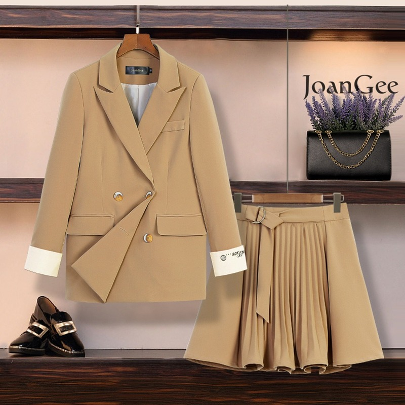 Women's Skirt Suits Spring-autumn 2020 Casual High-quality Double-breasted Women's Jacket Fashionable Pleated Skirt Two-piece