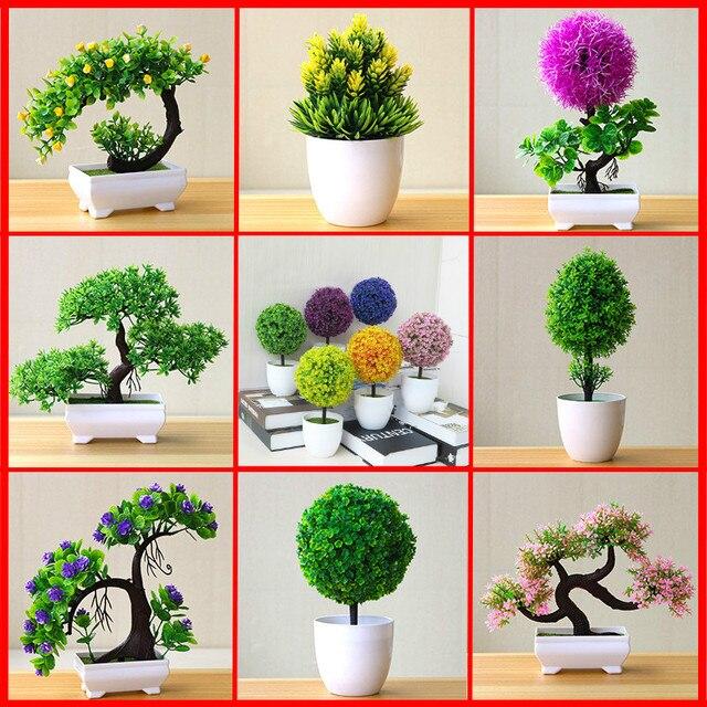 Artificial Plant Lotus Plant Potted Plastic Flower Table Top Ornaments Christmas Simulation Bonsai Craft Green Plant Decorative