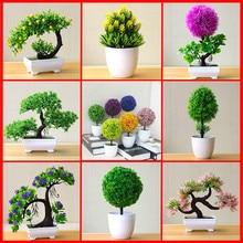 Sztuczna roślina lotos roślina doniczkowy plastikowy kwiat blat ozdoby świąteczne symulacja rzemiosło Bonsai zielona roślina dekoracyjna