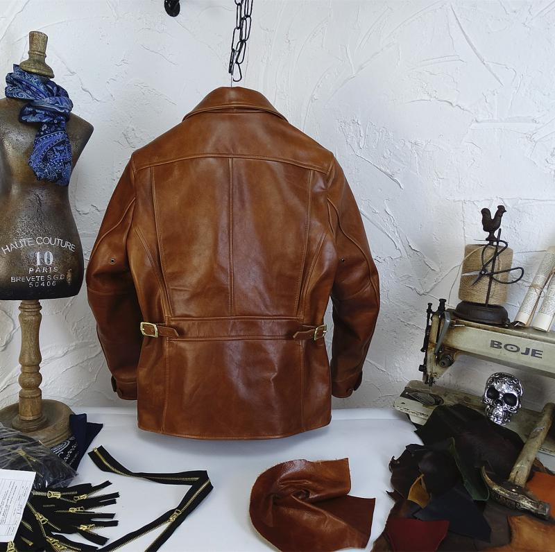 Hb5037b5584c8453bbdad40b6465a5e59a YR!Free shipping.Italy Oil Wax Cowhide coat.Helix Rider genuine leather jacket,winter men vintage brown leather jacket.sales
