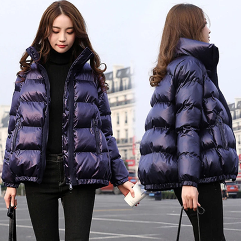 Bright Colors Winter Jacket Women Parka Warm Thick Solid Short Style Down Jacket Padded Parkas Coat Loose Stand Collar Outwear