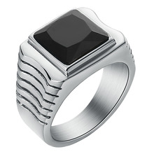 Mens Simple Signet Ring Square Red/Black/White /Purple CZ Zircon for Man Women Stainless Steel Wedding Band Rings Jewelry