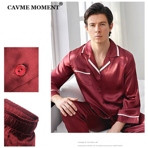 Image 4 - CAVME 100% Silk Pajama Set for Men Hommes Luxury Homwear Father Sleepwear 2 Pieces PLUS SIZE Classic Design Solid Color