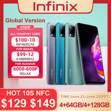 Новая глобальная версия Infinix Горячая 10S NFC 4 ГБ/64 Гб 128 Гб Смартфон 6,82 ''HD + Дисплей 5000 мА/ч, Батарея Helio G85 мобильный телефон