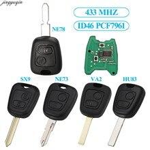 Jingyuqin 2BTN remoto llave de coche 433MHZ PCF7961 ID46 Chip para Peugeot 106, 306, 307, 107, 407 socio Citroen C1 C3 C4 C6 Saxo Picasso