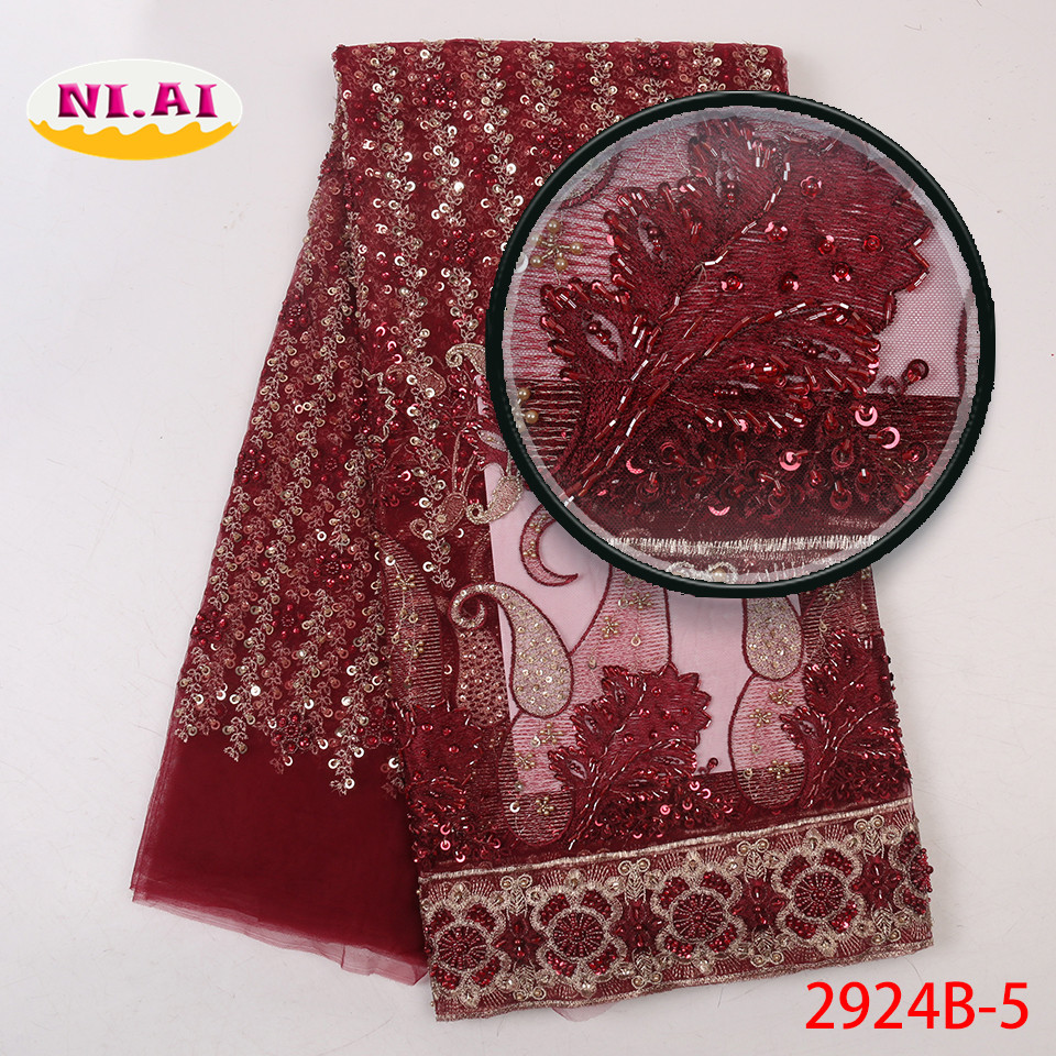 Wine Red Mesh Embroidery Fabric, Hand Lace Embroidery Fabric, Sewing Heavy Fabric MR2924B