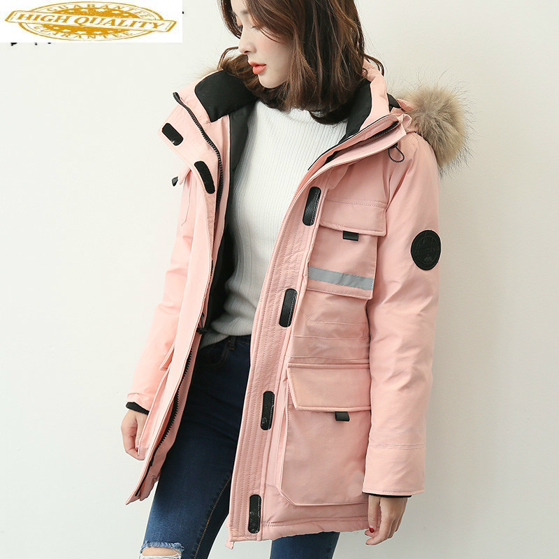 90% White Goose Down Jacket Women Winter Coat Women Real Raccoon Fur Collar Korean Puffer Jacket Women Parka YS6101700-1 YY1622