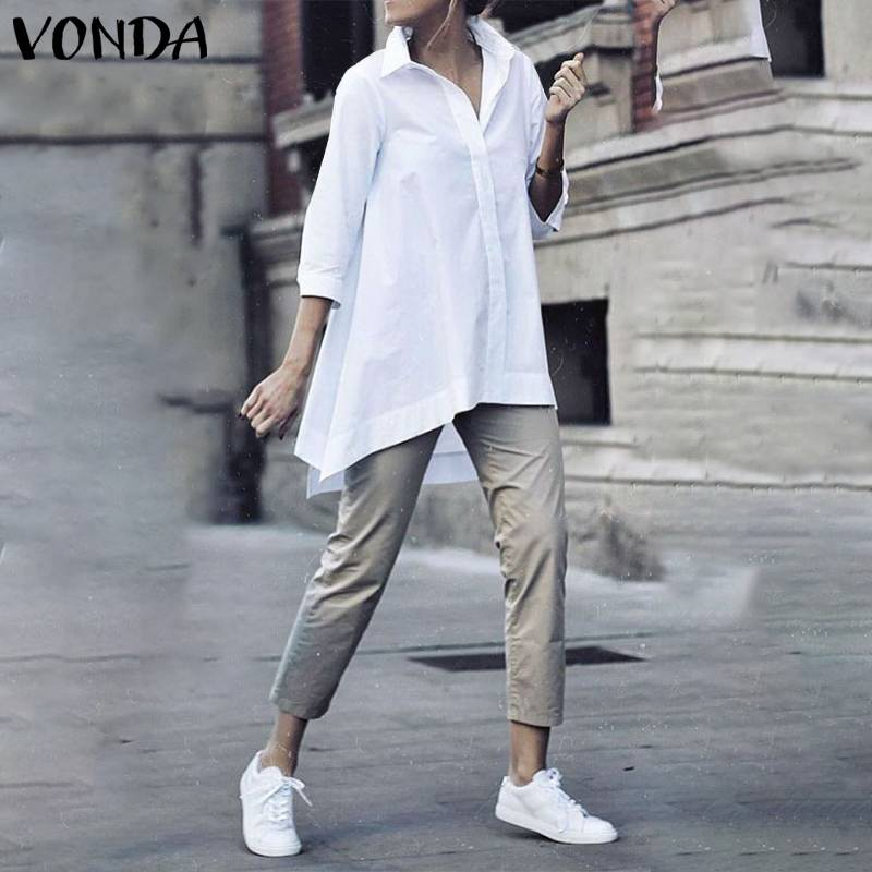 VONDA Office Blouse Women Casual Lapel Neck Party Shirts White Blouse Plus Size Blusas 2020 Summer Bohemian Tunic S-5XL