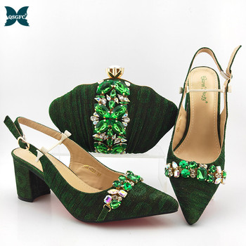 2020 Latest D.Green Shoes and Bag To Match Italian design Women Shoe and Bag To Match for Parties African Shoes and Bags Set