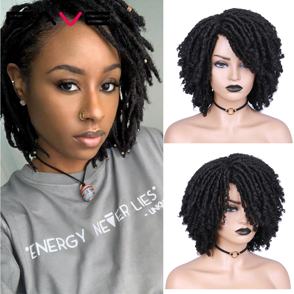 FAVE Dreadlock Wig Braided Twist Black Brown Short Heat Resistant Synthetic Daily Party For Black White Women