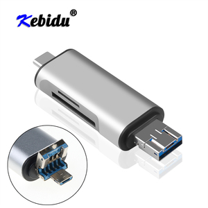 Kebidu 3 In 1 OTG Type C Card Reader USB 3.0 USB A Micro USB Combo To 2 Slot TF SD For Smartphone PC USB C Card Reader(China)